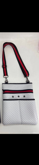 White with Red Accent Neoprene Crossbody Bag