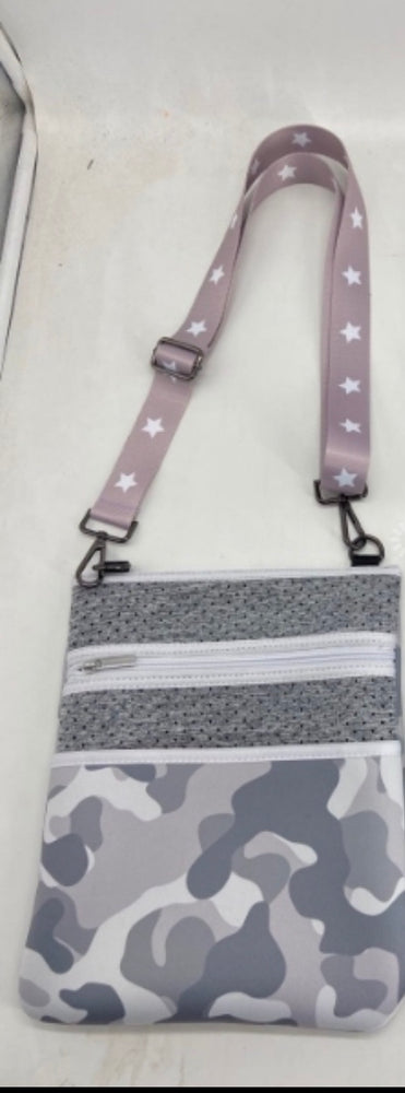 Grey Camo Neoprene Crossbody Bag