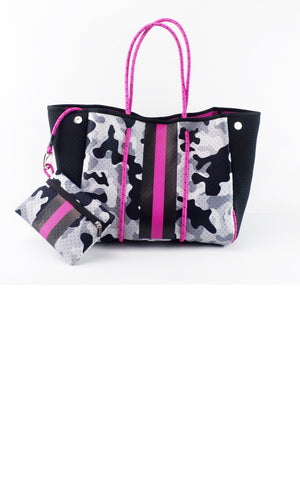Grey Camo with Pink Accent Fancy Neoprene Tote