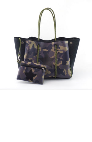 Camo with Star Accent Fancy Neoprene Tote