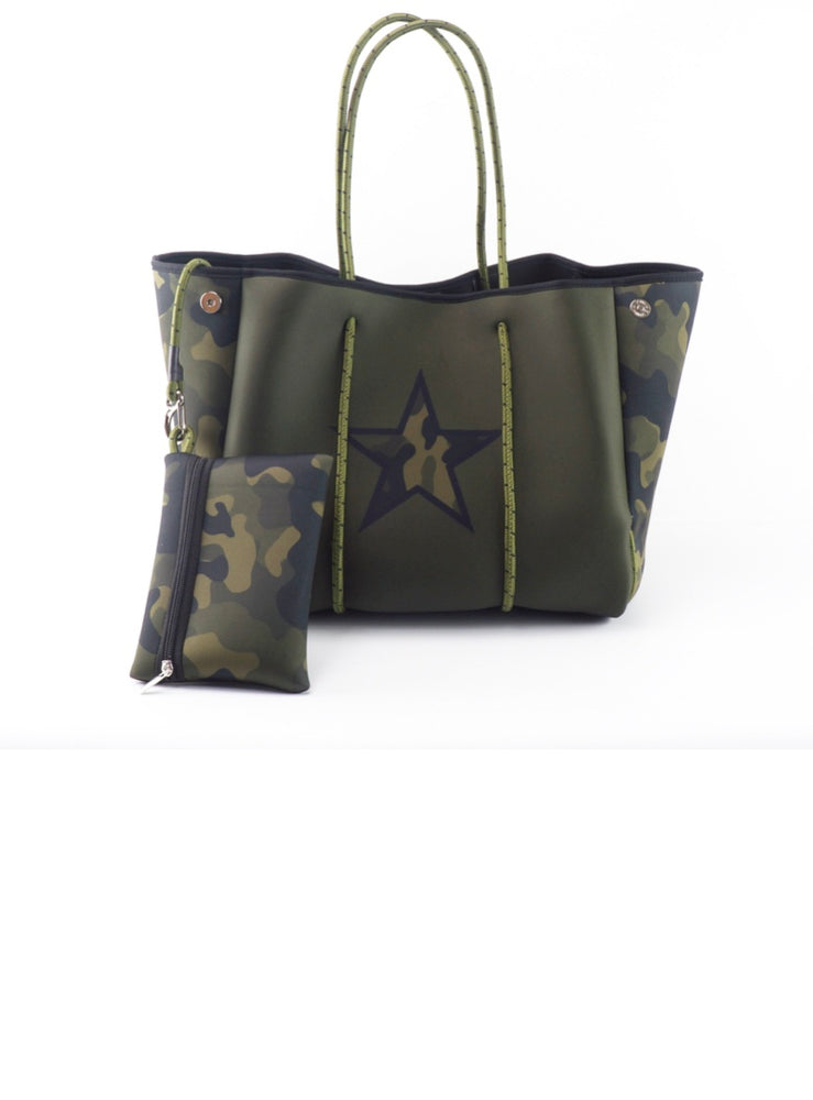 Olive Camo with Star Accent Fancy Neoprene Tote