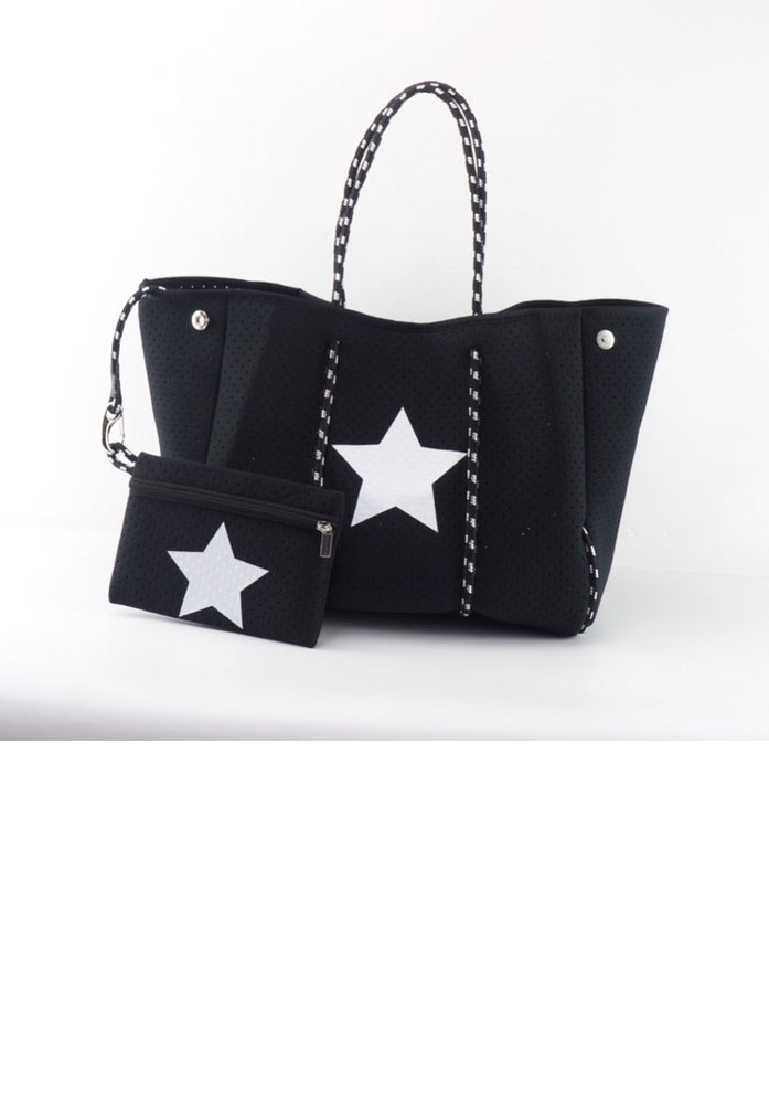 Black with Star Accent Fancy Neoprene Tote