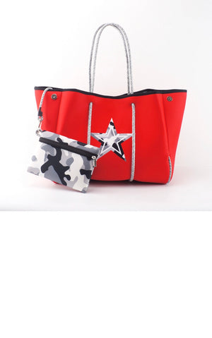 Red with Grey Camo Accent Fancy Neoprene Tote