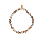 A Marie Stretchy Two Tone Bracelet - Moonstone Rondelle