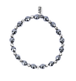 A Marie Stretchy Two Tone Metallic Bracelet - Dark Hematite Disco