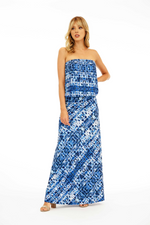 Veronica M Blue Strapless Dropwaist Maxi