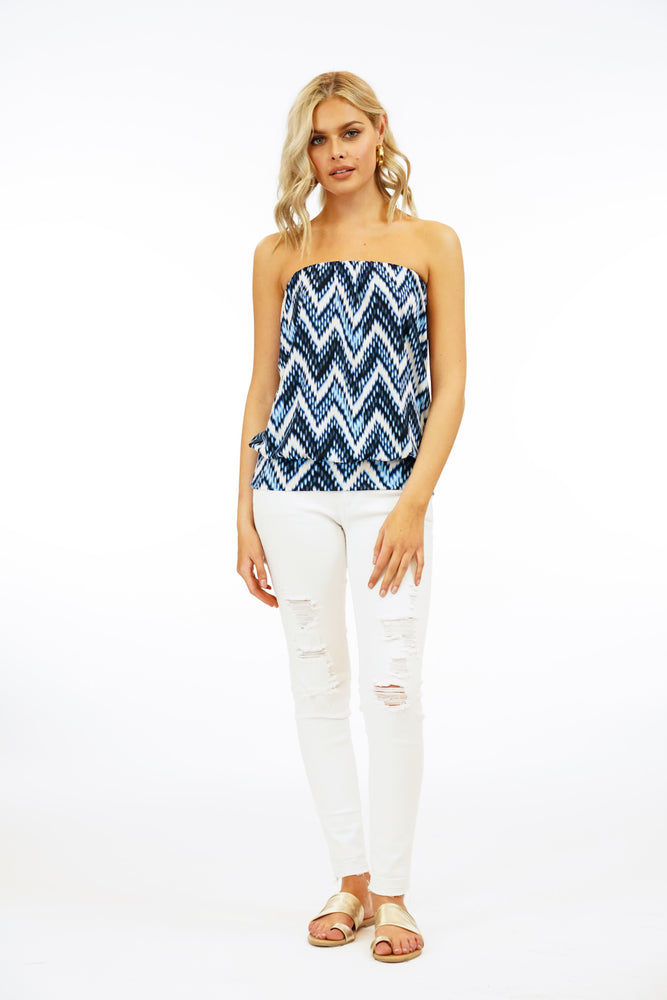 Veronica M Chevron Print Tube Top