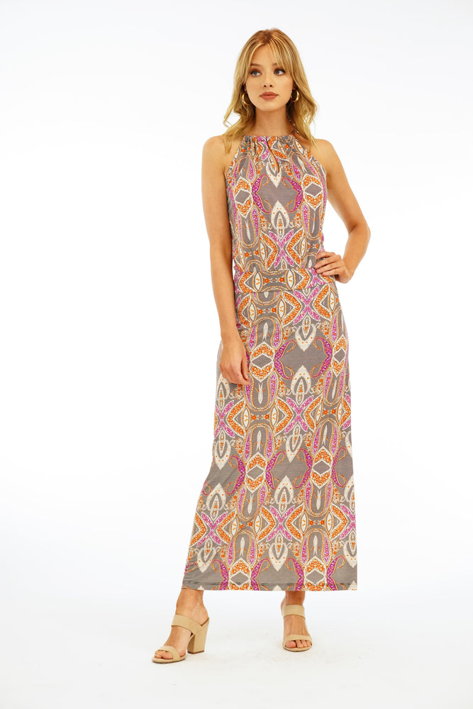 Veronica M Halter Dropwaist Maxi Dress