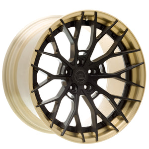 YIDO PERFORMANCE WHEELS | YP 8.2 FORGED | DARK BLACK BRUSHED/BRUSHED GOLD LIP - Boden Visuals