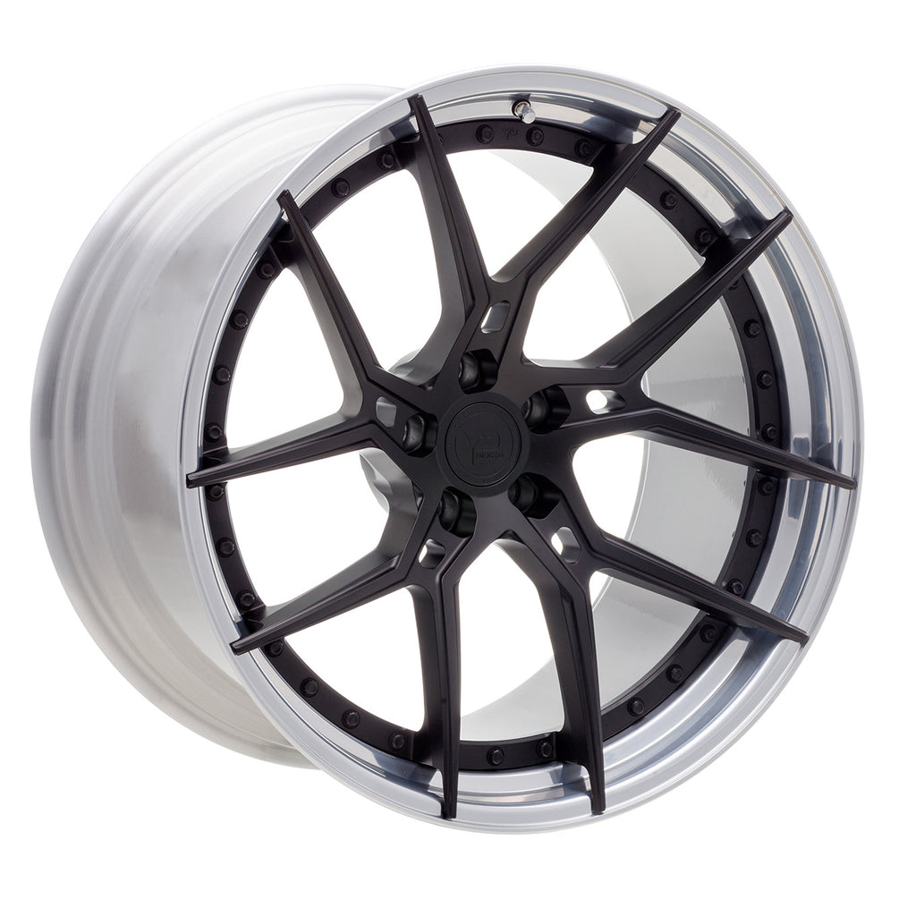 YIDO PERFORMANCE WHEELS | YP 6.2 FORGED | MATTE BLACK/POLISHED LIP EXPOSED HARDWARE - Boden Visuals