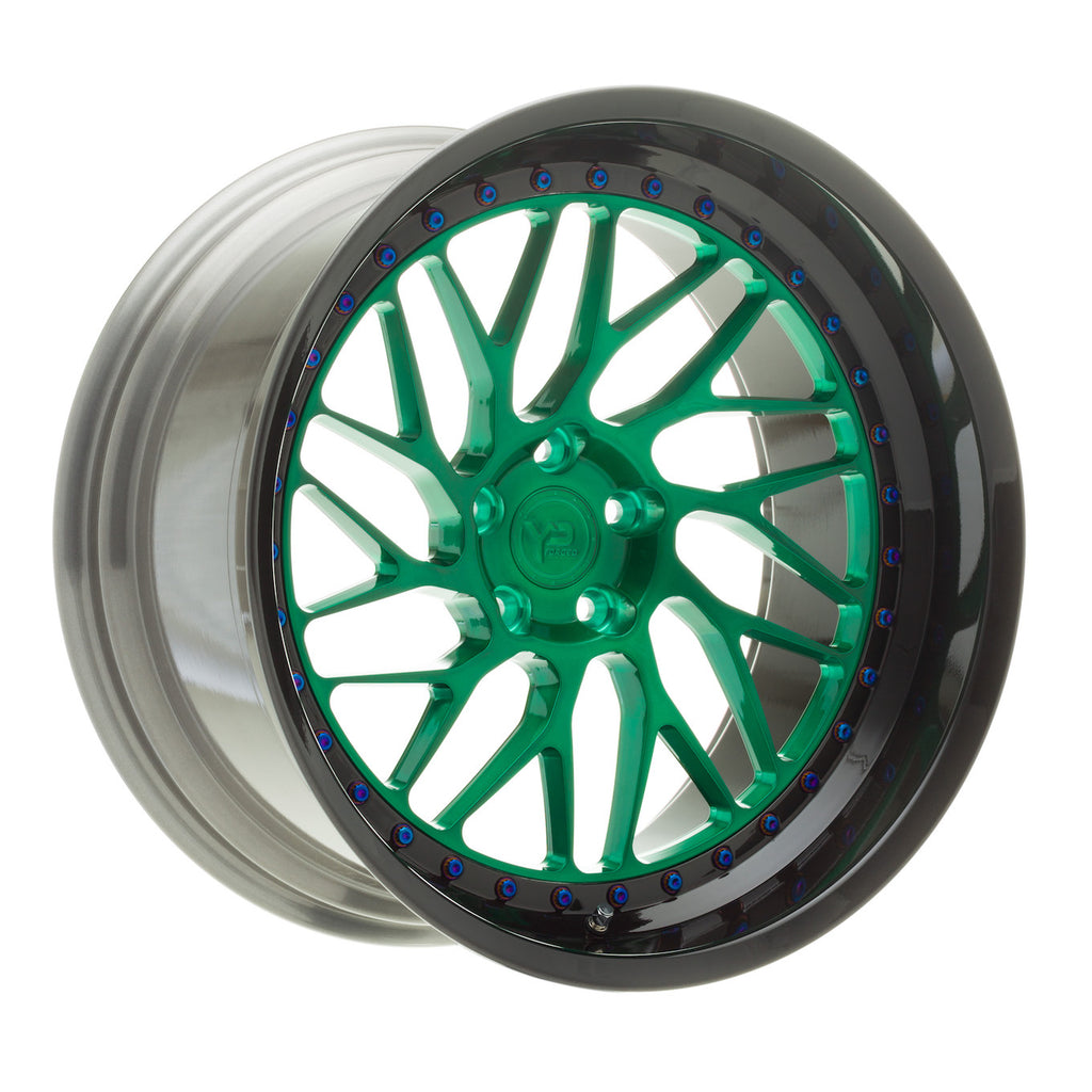YIDO PERFORMANCE WHEELS | YP CS1.2 FORGED | BRUSHED HULK GREEN/BRUSHED BLACK LIP - Boden Visuals