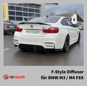 PeParts BMW M3 / M4 F8X F-Style 4-teiliger Diffusor Carbon - Boden Visuals