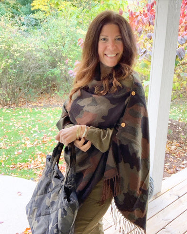 Camouflage Button-down Scarf Design Shawl/Poncho