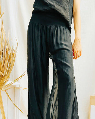 Black Silk Pants made in Italy