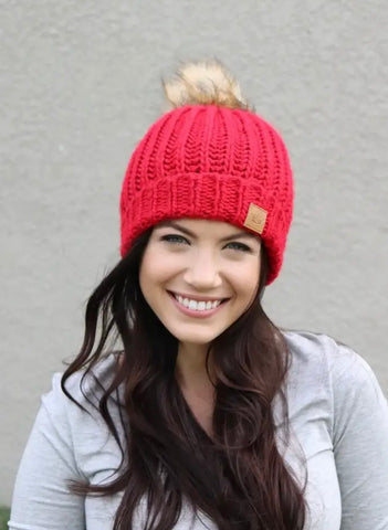 The Perfect Red Knit Hat, Fleece Lined with Fur Pom