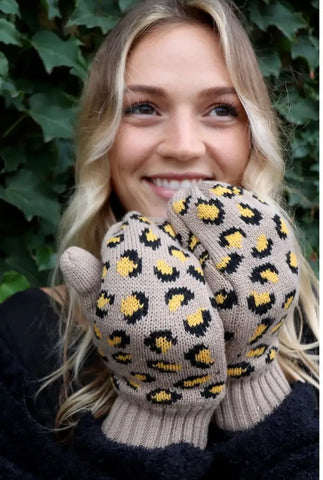 Tan & Mustard Leopard Knit Fleece Lined Mittens