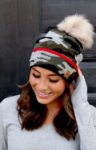 Camoflauge Knit Hat, Fleece Lined with Fur Pom