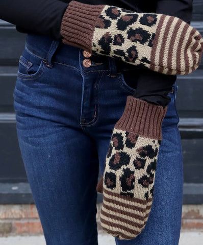 Leopdard and Stripe Knit Fleece Lined Mittens