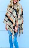 Plaid Button Shawl (Navy or Tan)