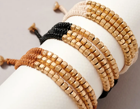 Metal Beads Braided Cord Layered Bracelet (natural or black)