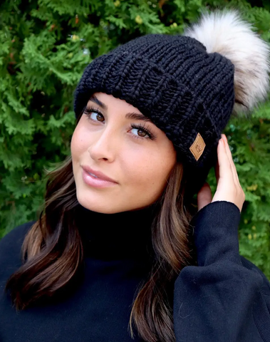 Black Knit Fur Pom Hat