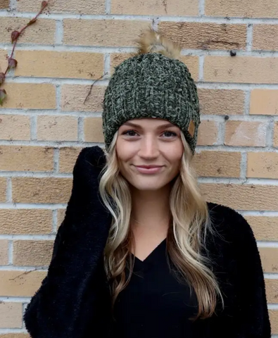 Green Chennille Fur Pom Knit Hat