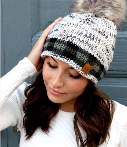 Green Plaid Trim Fleece Lined Knit Hat with Fur Pom