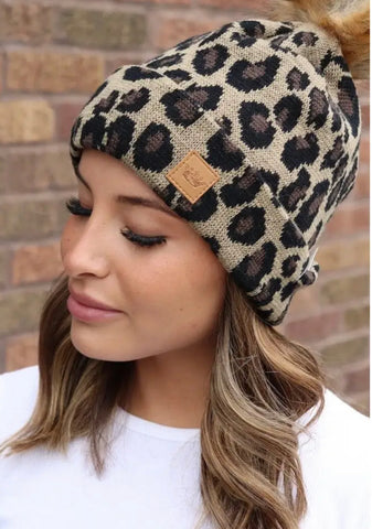 Leopard Print Knit Hat, Fleece Lined with Fur Pom