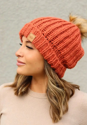 The Perfect Orange Knit Hat, Fleece Lined with Fur Pom