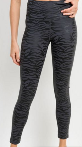 Tiger Foil Black Leggings by Well Awear Athleisure Brand