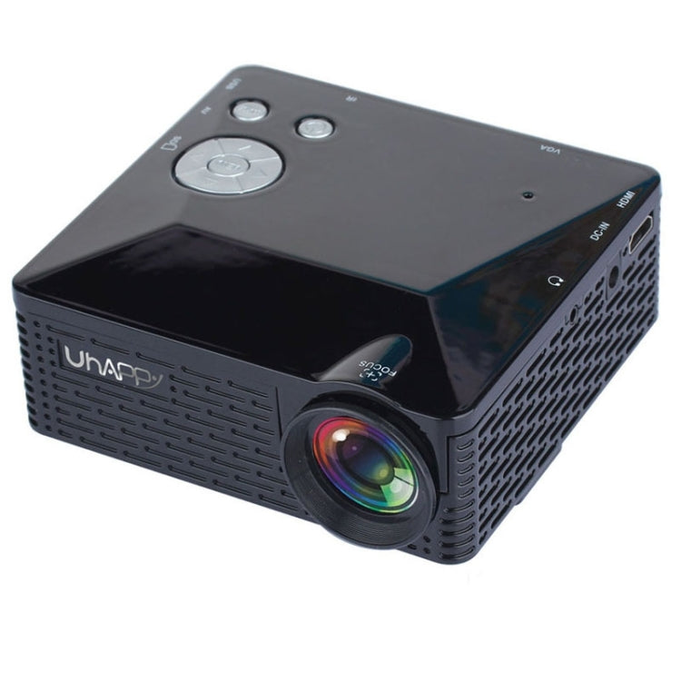 Uhappy U18 60LM Home Theater 320*240 Mini Projector with Remote Control, Support HDMI + USB + SD + AV + VGA(Black)