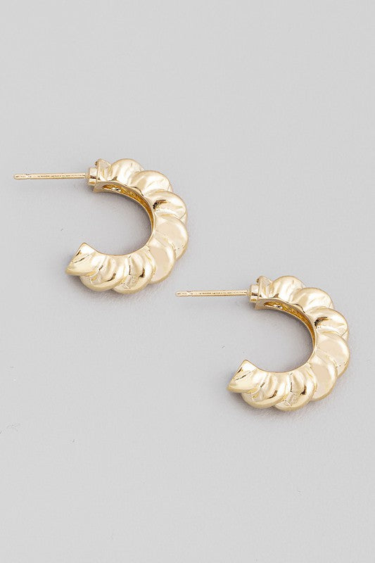 Metallic Hoop Post Earrings