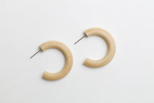 Load image into Gallery viewer, Natural wood hoop earrings