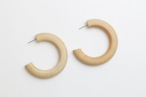 Natural wood hoop earrings