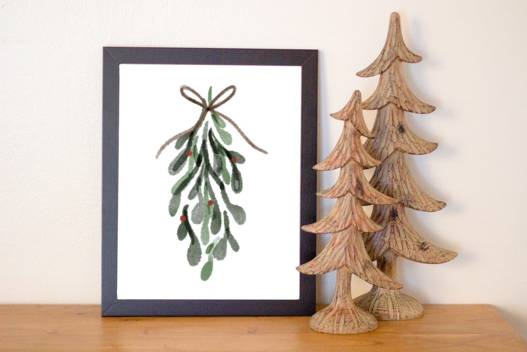 Mistletoe Water Color Print