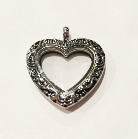 silver locket lockets necklace heart engraved dp four quot sterling picture