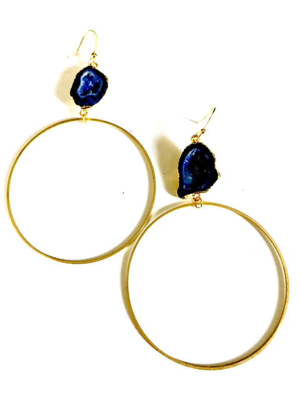 Deep Blue Druzy Hoops