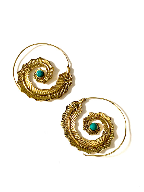 Issa Turquoise Brass Earrings