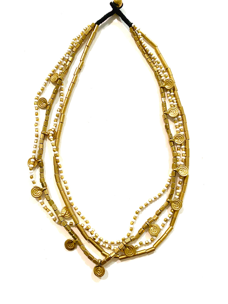 Sanaya White and Gold Layered Necklace