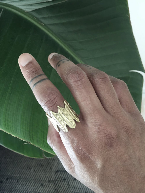 Adjustable Feather Crown Ring