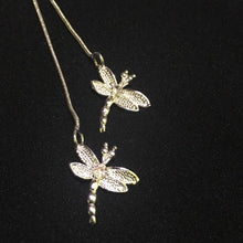 Load image into Gallery viewer, Silver Necklace - Two Dragonflies