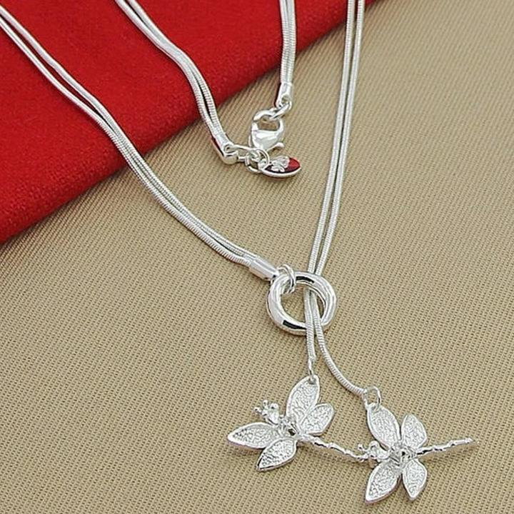 Silver Necklace - Two Dragonflies
