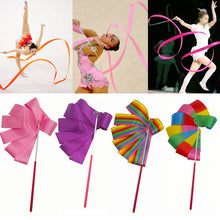 Charger l'image dans la galerie, 2M/4M Colorful Gym Ribbons Dance Ribbon Rhythmic Art Gymnastic Ballet Streamer Twirling Rod Stick For Gym Training Professional
