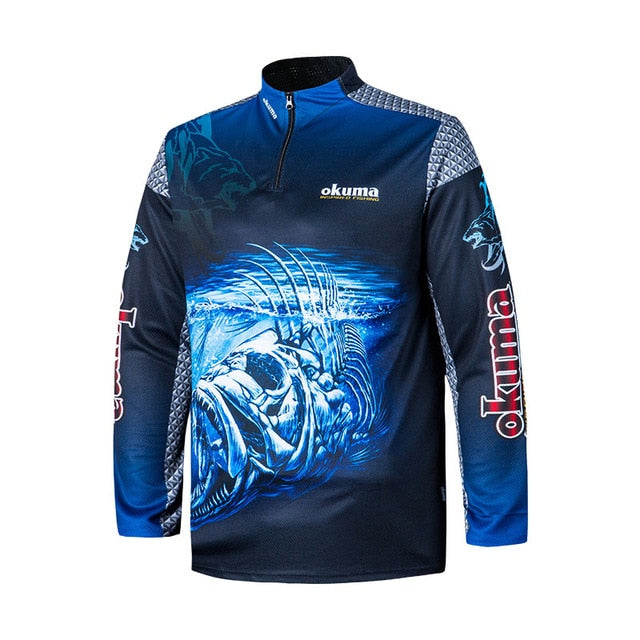 Original OKUMA Fishing Clothes Fishing Shirt Fishing Jerseys Breathable Sweat-absorbing Sunscreen Outdoor Sport