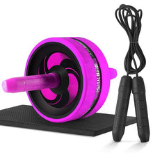 Charger l'image dans la galerie, New 2 in 1 Ab Roller&Jump Rope No Noise Abdominal Wheel Ab Roller with Mat For Arm Waist Leg Exercise Gym Fitness Equipment