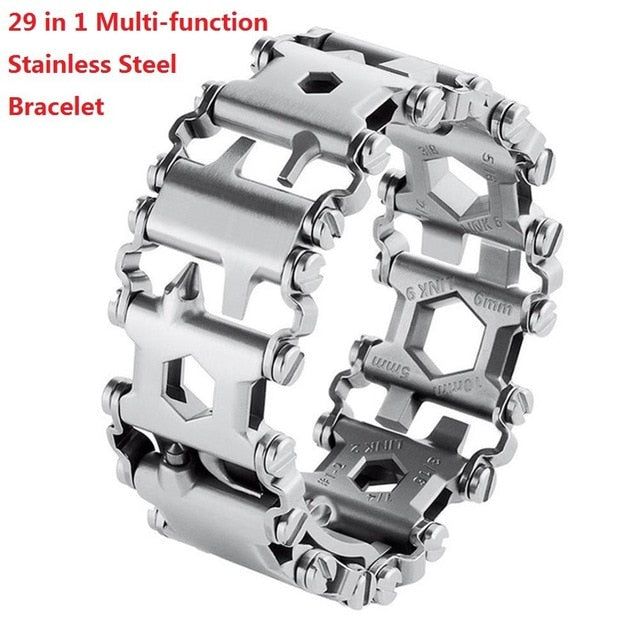 Multifunction Tool Bracelet Tread Bracelet Stainless Steel Bolt Driver Tools Kit Friendly Wearable Bike Multitool Outdoor Tool