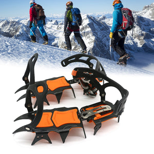 1 Pair 14 Teeth Ice Gripper Non Slip Climbing Crampons Cleats Shoe Cover Ice Crampons Winter Snow Spikes Boot Shoes For Winter