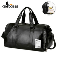 Charger l'image dans la galerie, Gym Bag Leather Sports Bags Big Men Training Tas for Shoes Lady Fitness Yoga Travel Luggage Shoulder Black Sac De Sport XA512WD