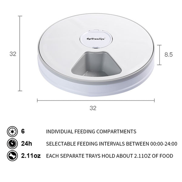 6 Meal Automatic Pet Feeder With Timer, Cat Dog Electric Dry Food Dispenser