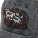 Casquette Ours<br> Yellowstone Grise Motif Noir